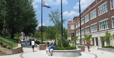 New visible and inviting outdoor pedestrian plaza highlights the new entrance to the Adron Doran University Center