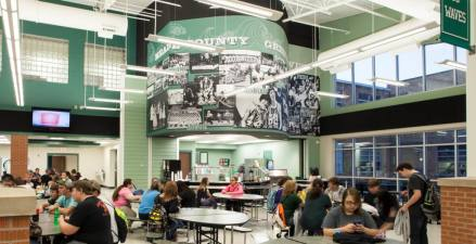 New cafeteria highlighting old yearbook photos to build a sense of community pride.