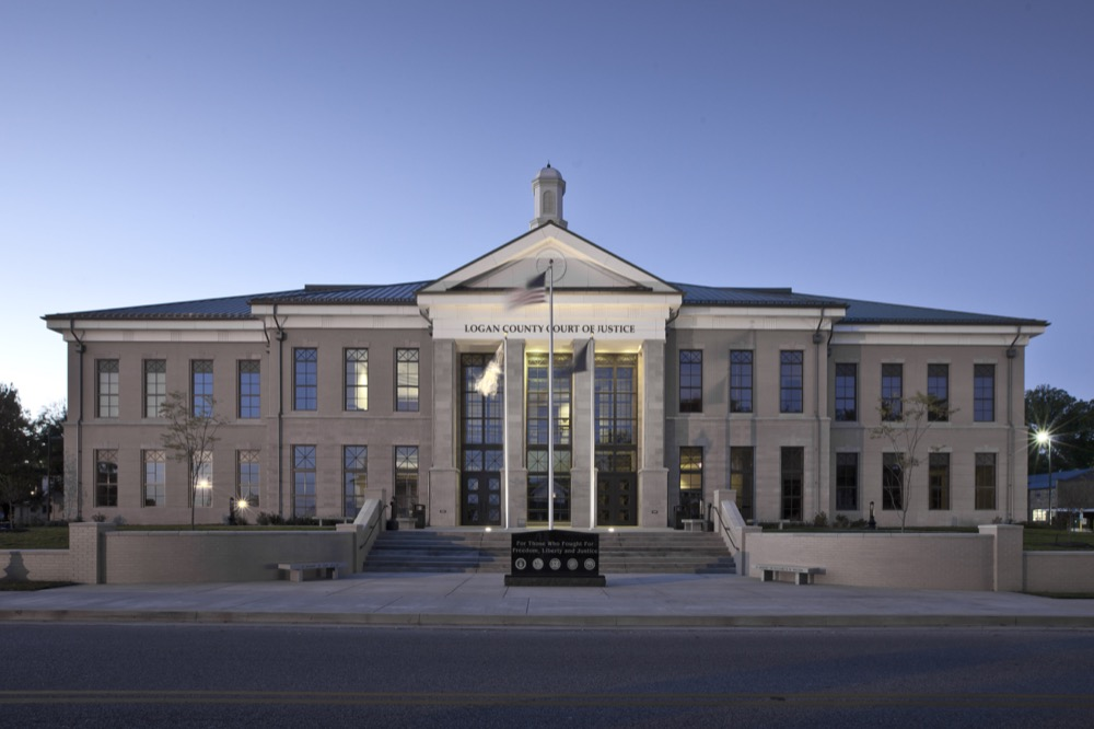 The Logan County Judicial Center exterior design captures the color and detailing of the existing courthouse in a size and scale, as well asthrough the choice of brick and natural limestone cornices, simulated copper metal roofing and cupola.
