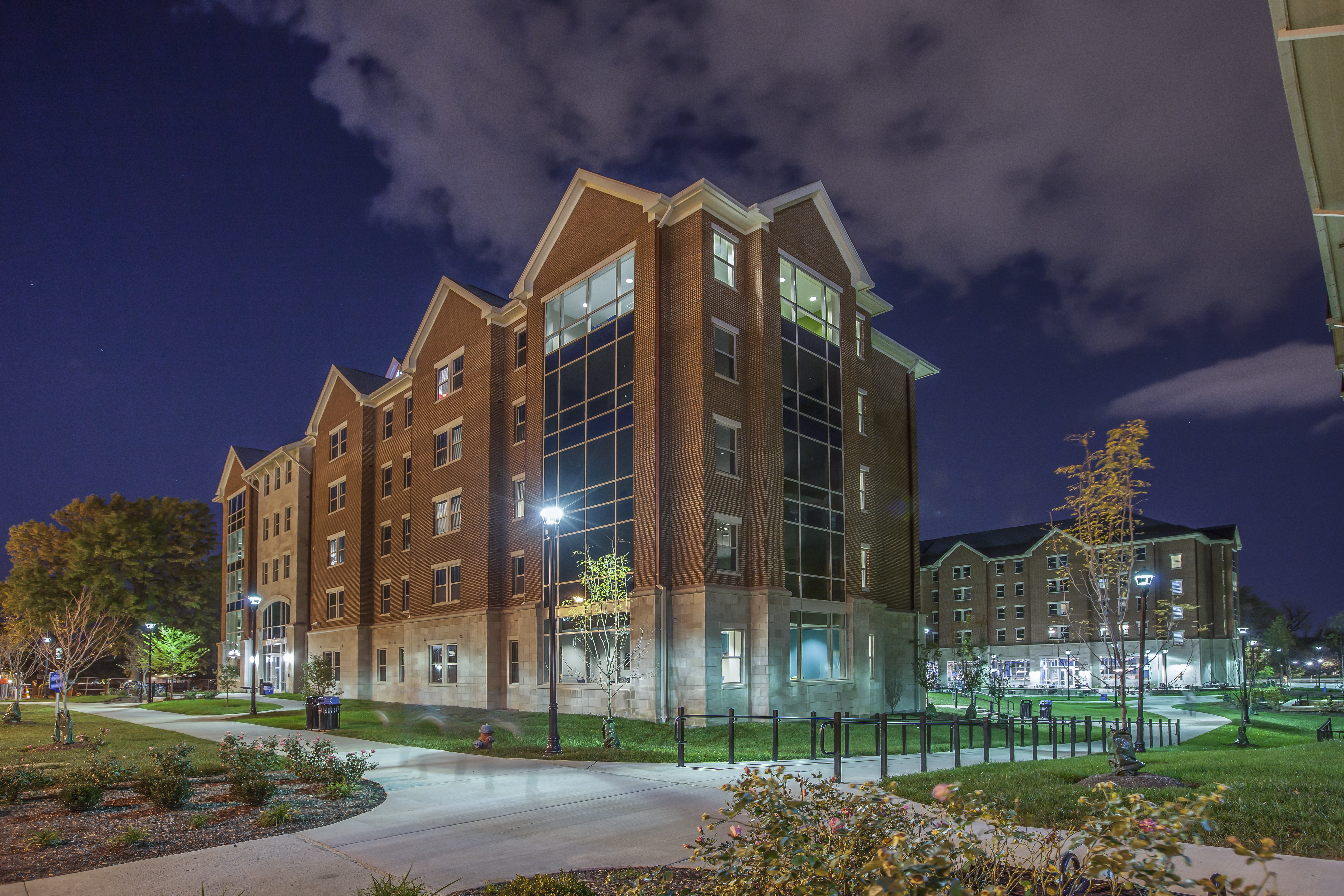 Haggin Hall at night with breathtaking views of central campus.