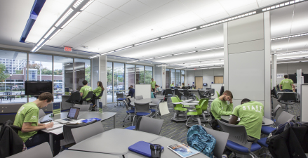Highly customizable and electronically integrated with video monitors, the North Study is clad from floor to ceiling with high tech, modular DIRTT wall systems that makes every wall a writing surface.
