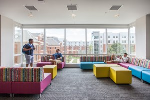 Upper Level Community Room overlooking the courtyard between Boyd and Holmes Hall