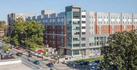 Located at the northeast corner of South Limestone and Avenue of Champions, Holmes Hall activates a corner within a hub of student and pedestrian activity, provides a signature gateway building, and connects north campus with the urban center of Lexington.