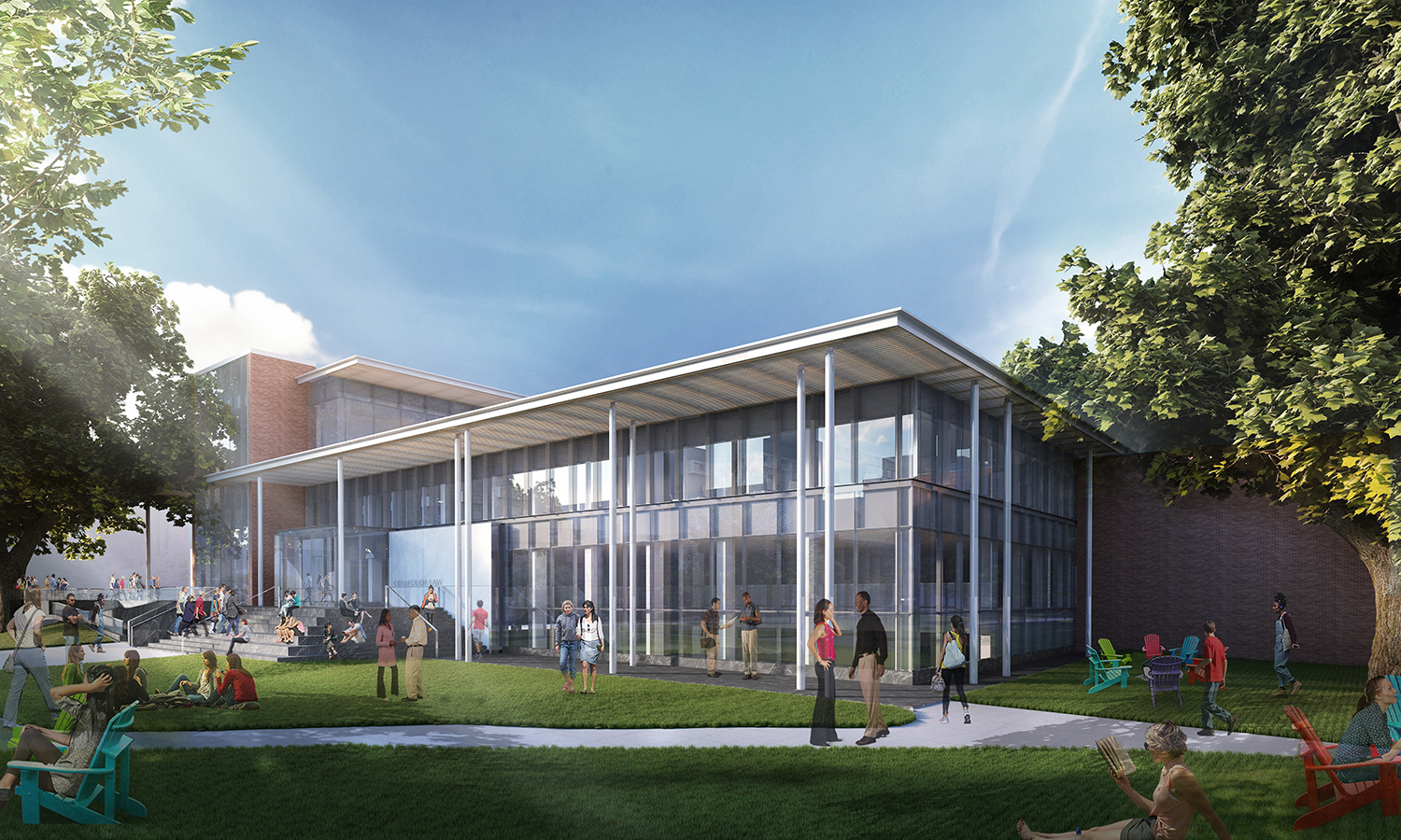 Law School Renovation & Expansion New Exterior View of Memorial Hall Lawn