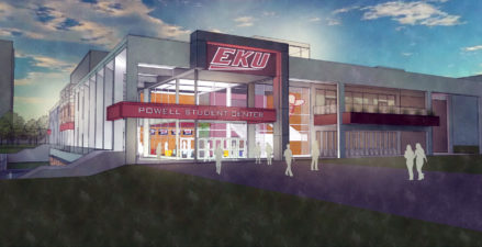 Night proposed view of EKU Powell Center north exterior