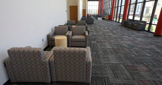The ballroom lounge inside the newly renovated Student Activities Center.