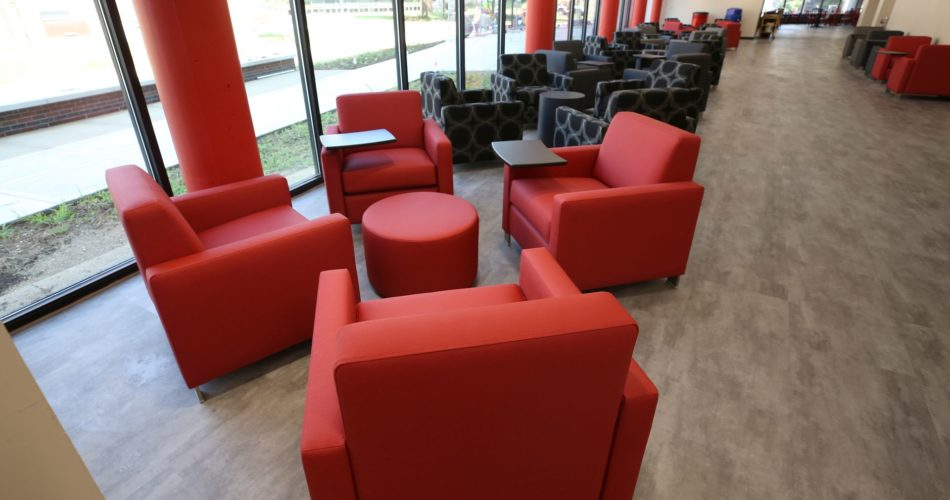The first floor lounge inside the newly renovated Student Activities Center.
